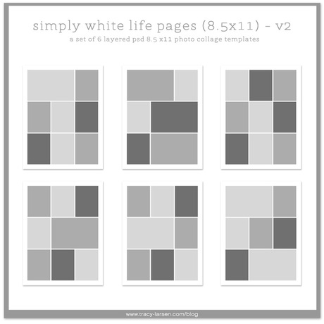 simply white life pages 8.5x11 photo page collage templates for project life, digital project life + pocket scrapbooking ==> tracy-larsen.com/blog